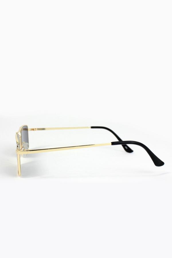 Monza Gold Metal Çerçeveli Küçük Dikdörtgen Güneş Gözlüğü Siyah