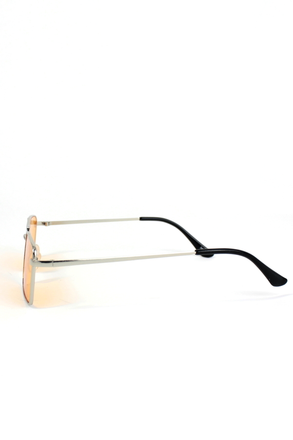 Monza Silver Metal Çerçeveli Küçük Dikdörtgen Güneş Gözlüğü Turuncu