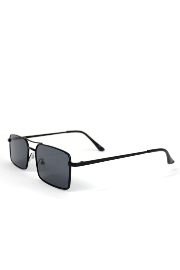 Monza Siyah Metal Çerçeveli Küçük Dikdörtgen Güneş Gözlüğü Siyah