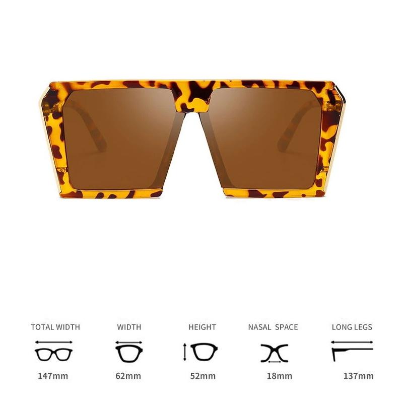 Must Köşeli Büyük Kare Güneş Gözlüğü Leopar