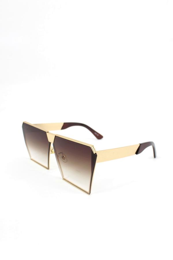 Must Üstü Düz Gold Metal Çerçeveli Büyük Unisex Güneş Gözlüğü Kahverengi
