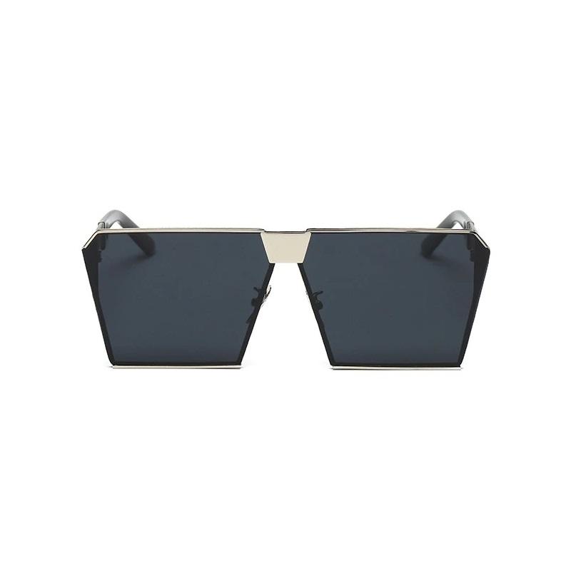 Must Üstü Düz Silver Metal Çerçeveli Büyük Güneş Gözlüğü Siyah
