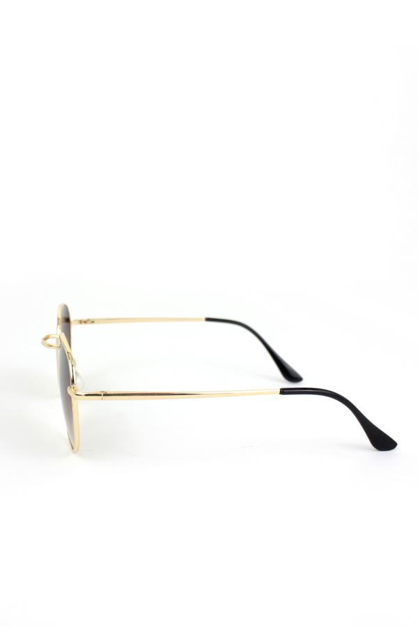 My Best Gold Metal Çerçeveli Küçük Yuvarlak Unisex Güneş Gözlüğü Degrade Kahverengi