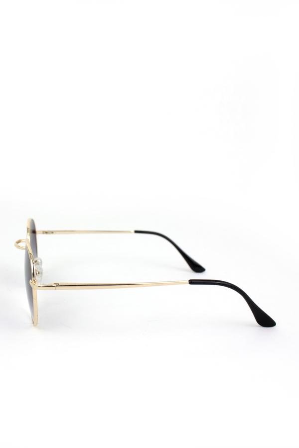 My Best Gold Metal Çerçeveli Küçük Yuvarlak Unisex Güneş Gözlüğü Degrade Siyah