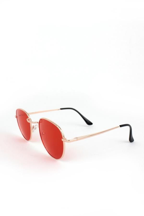 My Best Rose Metal Çerçeveli Küçük Yuvarlak Unisex Güneş Gözlüğü Kırmızı