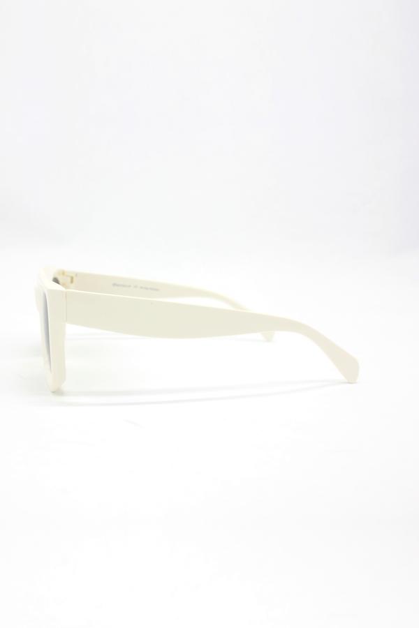 New Mia Kalın Kemik Çerçeveli Dikdörtgen Güneş Gözlüğü Beyaz