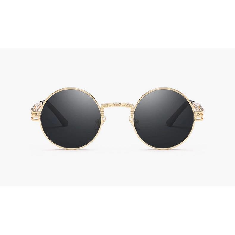New Steampunk Gold Çerçeveli Yuvarlak Güneş Gözlüğü Siyah