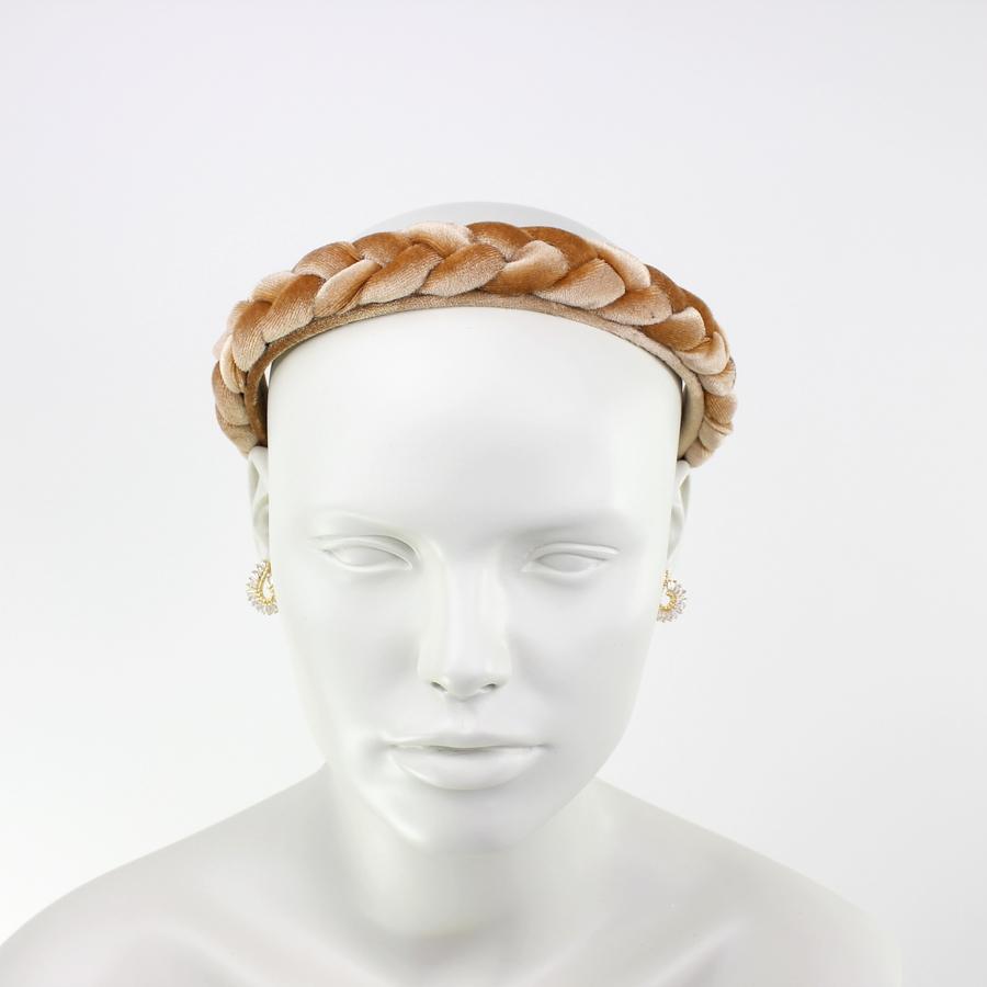 Örgülü Kadife Taç Saç Aksesuarı Gold Sarı