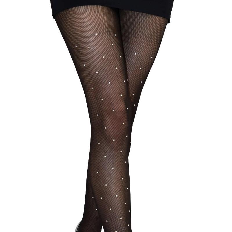 Ose Kristal Taşlı File Külotlu Çorap Siyah