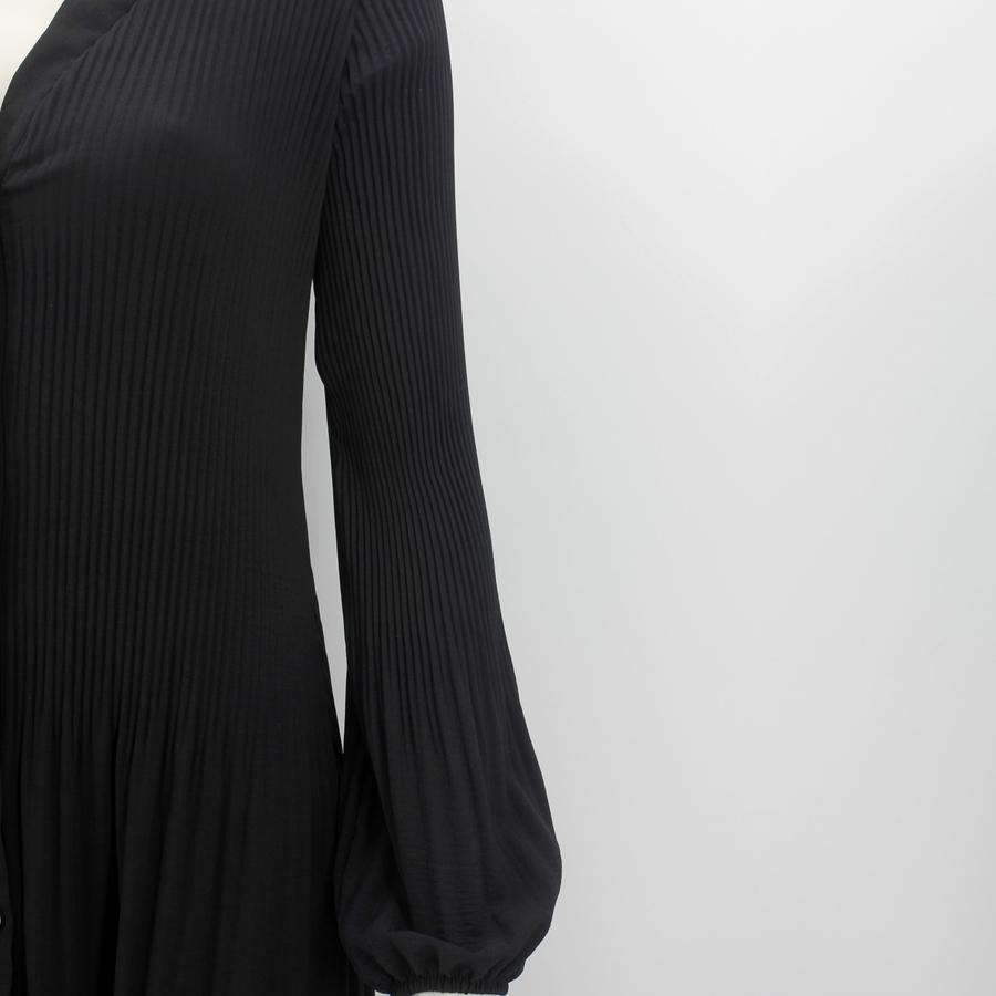 Pileli Balon Kollu Uzun Elbise Siyah