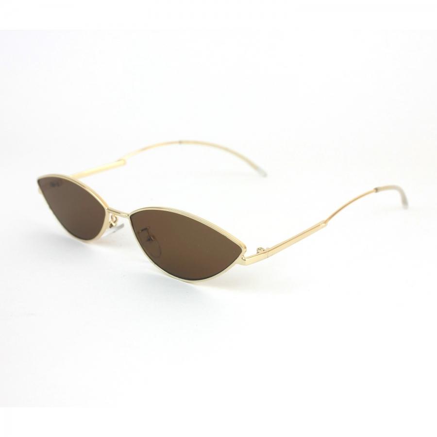 Poxi Gold Metal Çerçeveli Kahverengi Camlı Küçük Oval Unisex Güneş Gözlüğü