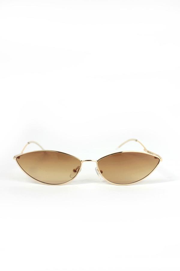 Poxi Gold Metal Çerçeveli Küçük Cat Eye Güneş Gözlüğü Kahverengi