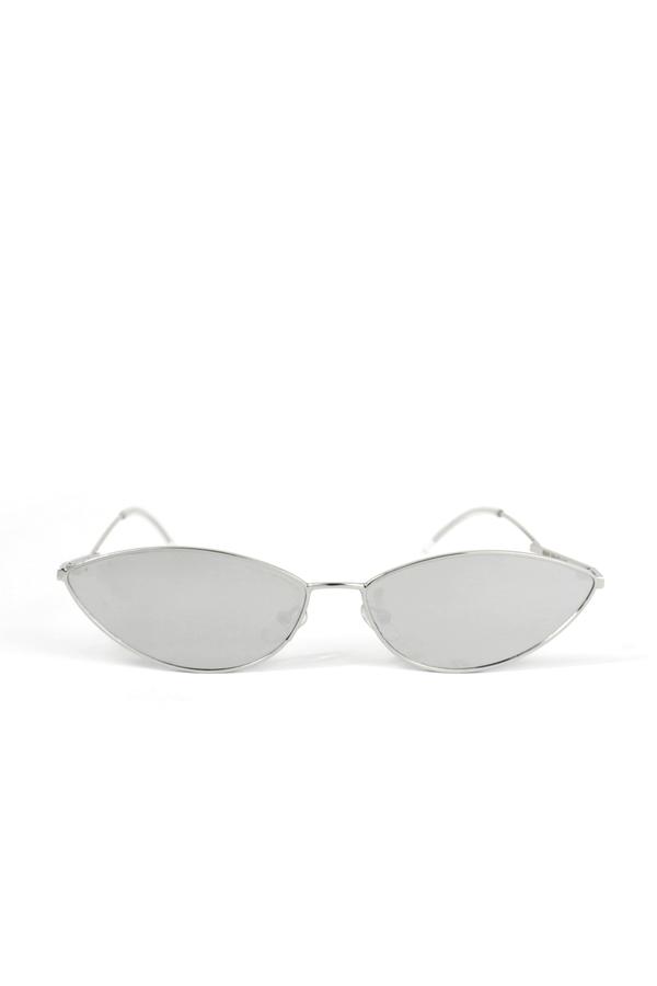 Poxi Silver Metal Çerçeveli Küçük Cat Eye Güneş Gözlüğü Aynalı Gri