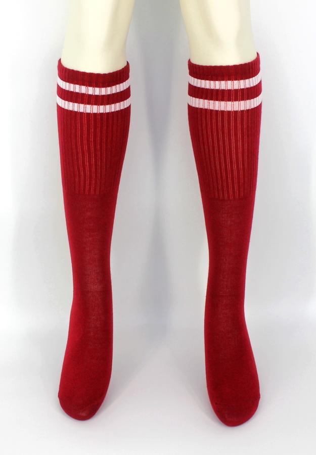 Pretty Beyaz Çizgili Diz Altı Çorap Bordo