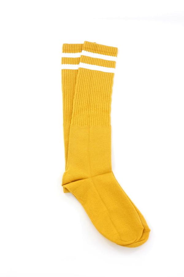 Pretty Beyaz Çizgili Diz Altı Çorap Hardal Sarı