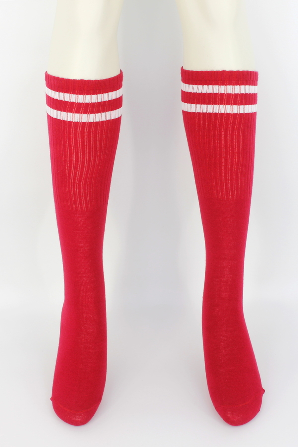 Pretty Beyaz Çizgili Diz Altı Çorap Kırmızı