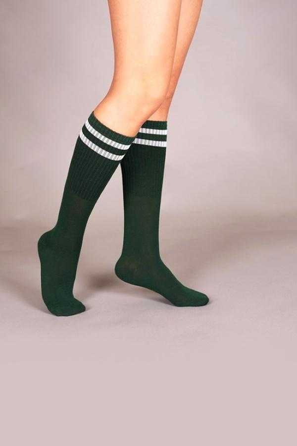 Pretty Beyaz Çizgili Diz Altı Çorap Koyu Yeşil