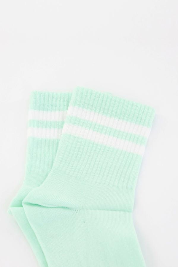 Pretty Beyaz Çizgili Soket Çorap Mint Yeşili
