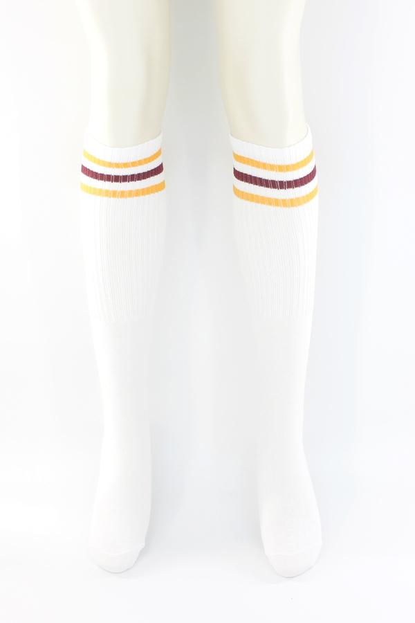 Pretty Turuncu Bordo Çizgili Diz Altı Çorap Beyaz