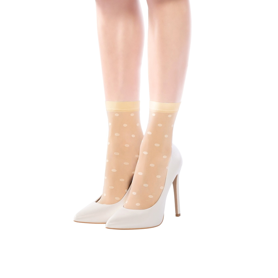 Puanlı İnce Kısa Çorap Ten Rengi