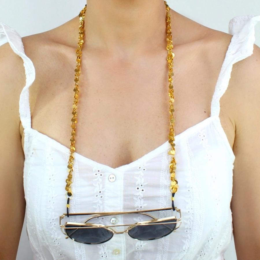 Pullu Gözlük Zinciri Gold