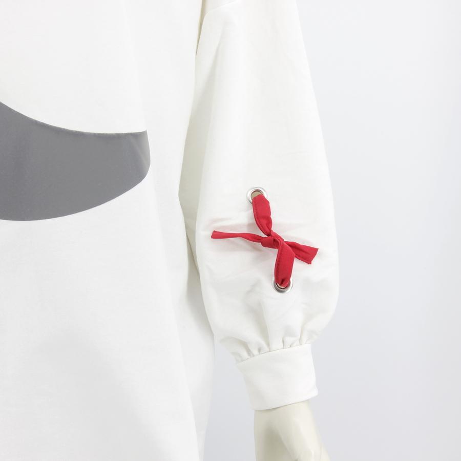 Reflectif Hilal Desenli Uzun Sweatshirt Beyaz
