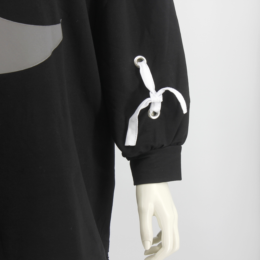 Reflectif Hilal Desenli Uzun Sweatshirt Siyah