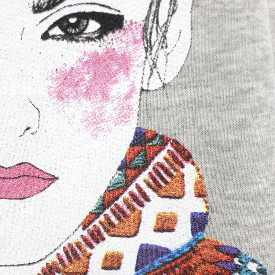 Renkli Kız Desenli İp Detaylı Uzun Sweatshirt Gri