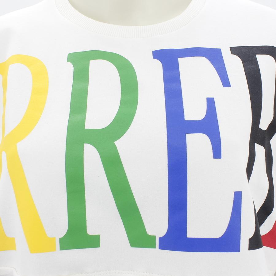 Renkli Yazılı İp Detaylı Uzun Sweatshirt Beyaz