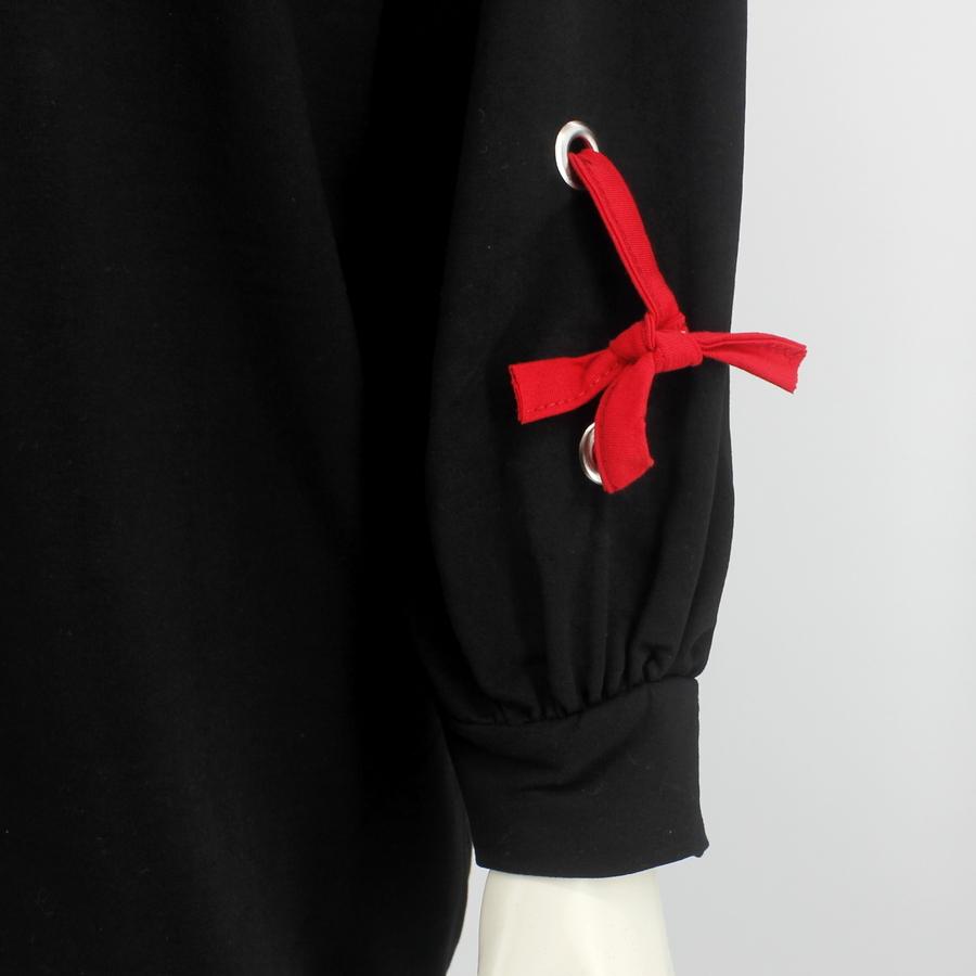 Renkli Yazılı İp Detaylı Uzun Sweatshirt Siyah