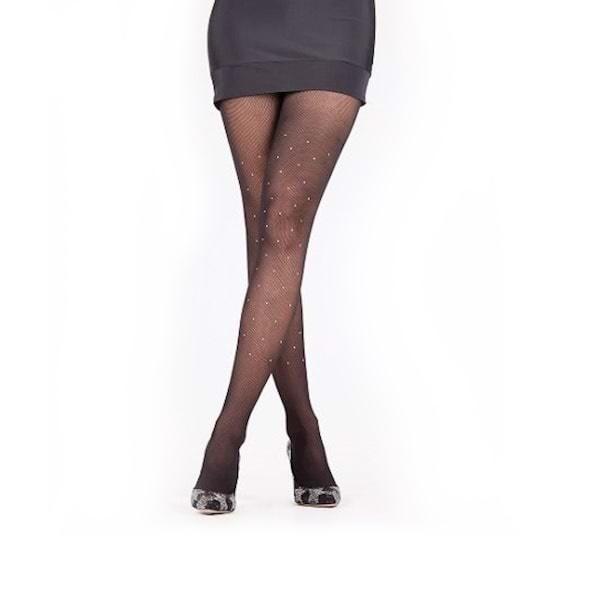 Rete Kristal Taşlı File Külotlu Çorap Siyah