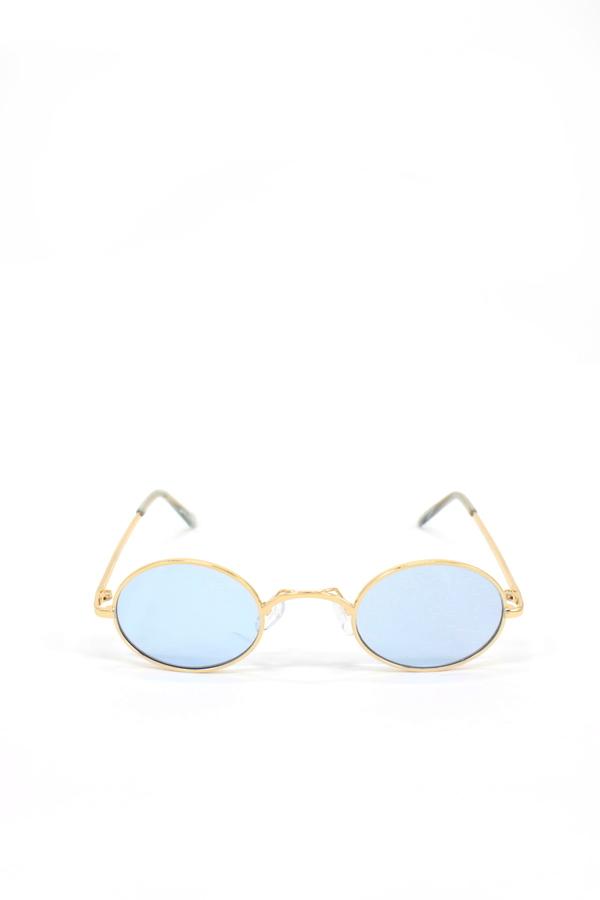 Retro Dream Gold Metal Çerçeveli Küçük Oval Güneş Gözlüğü Mavi