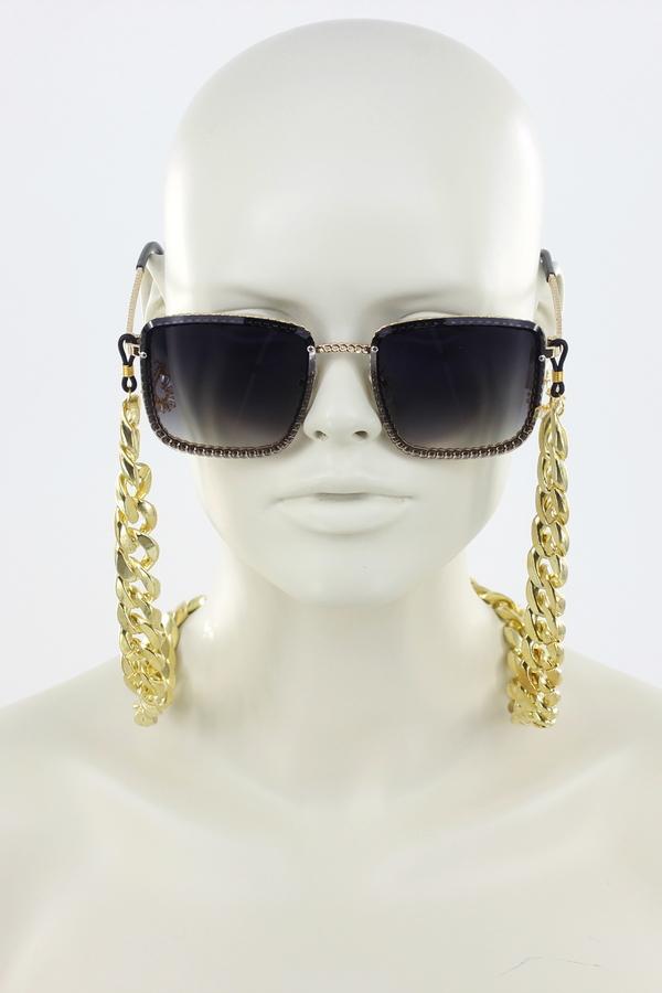 Retro Kalın Gözlük Zinciri Gold