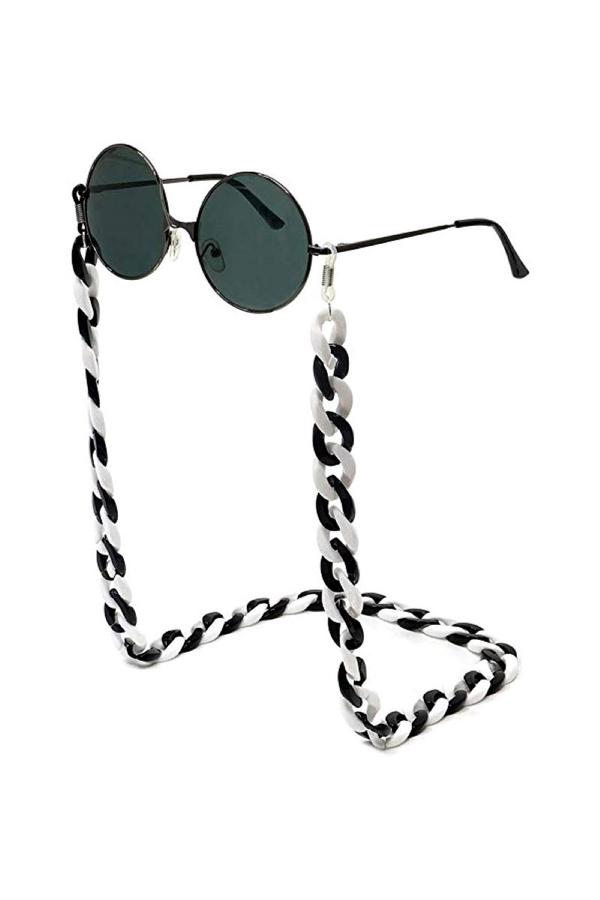 Retro Kalın Gözlük Zinciri Siyah Beyaz Mix