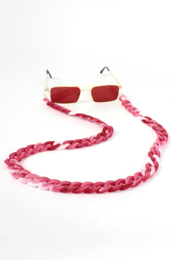 Retro Kalın Kemik Gözlük Zinciri Degrade Kırmızı Beyaz