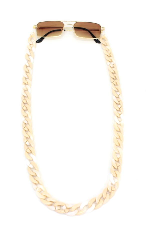 Retro Kalın Kemik Gözlük Zinciri Degrade Kremrengi Beyaz