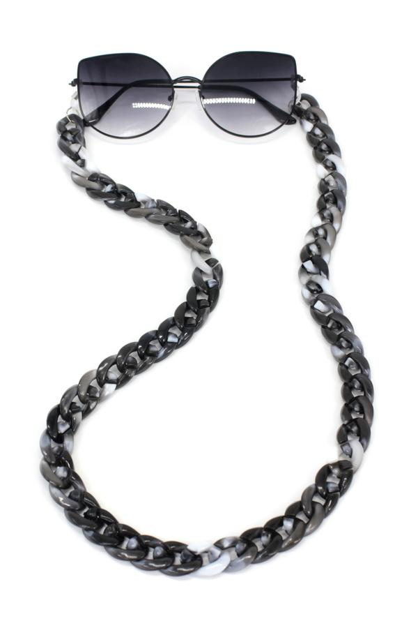 Retro Kalın Kemik Gözlük Zinciri Degrade Siyah Beyaz