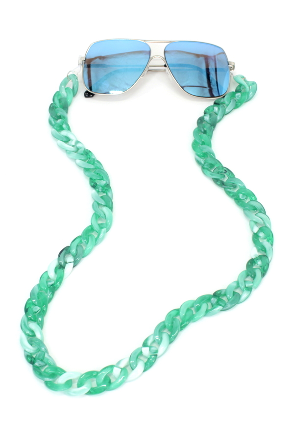 Retro Kalın Kemik Gözlük Zinciri Degrade Yeşil Beyaz