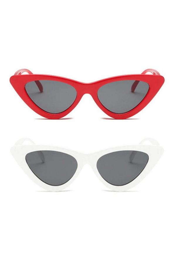 Retro Üçgen Cat Eye Güneş Gözlüğü Kırmızı Beyaz 2'li