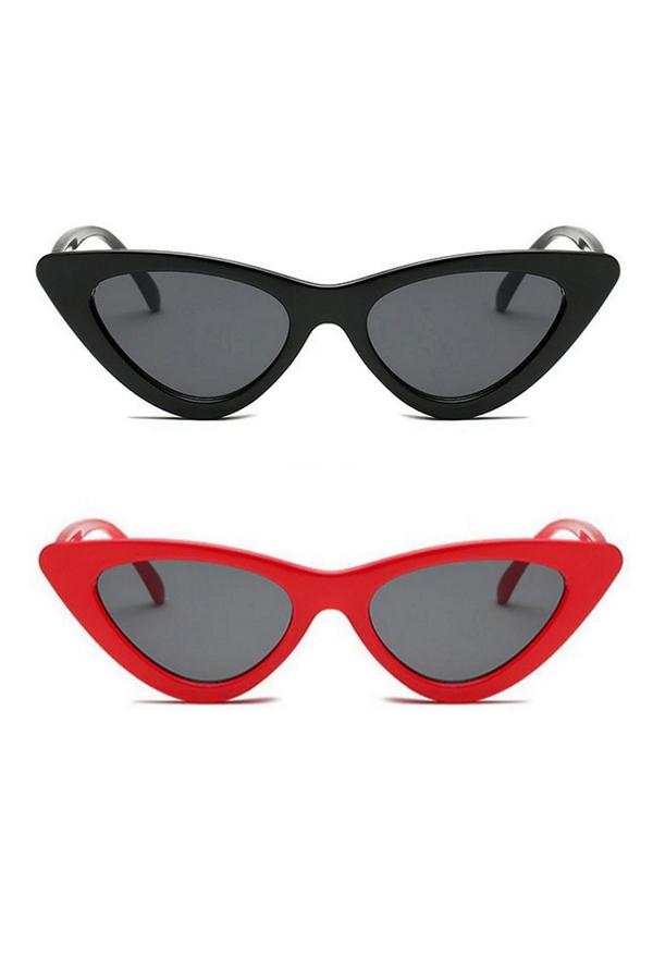 Retro Üçgen Cat Eye Güneş Gözlüğü Siyah Kırmızı 2'li