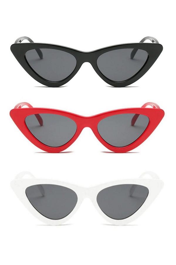 Retro Üçgen Cat Eye Güneş Gözlüğü Siyah Kırmızı Beyaz 3'lü