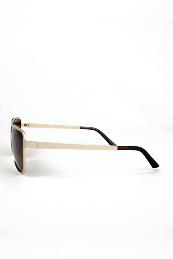 Revaux Gold Metal Çerçeveli Damla Unisex Güneş Gözlüğü Kahverengi