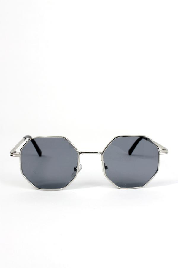 Runaways Silver Metal Çerçeveli Sekizgen Güneş Gözlüğü Siyah