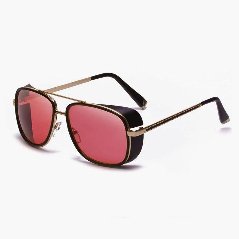 Shot Kırmızı Camlı Yuvarlak Steampunk Unisex Güneş Gözlüğü Siyah