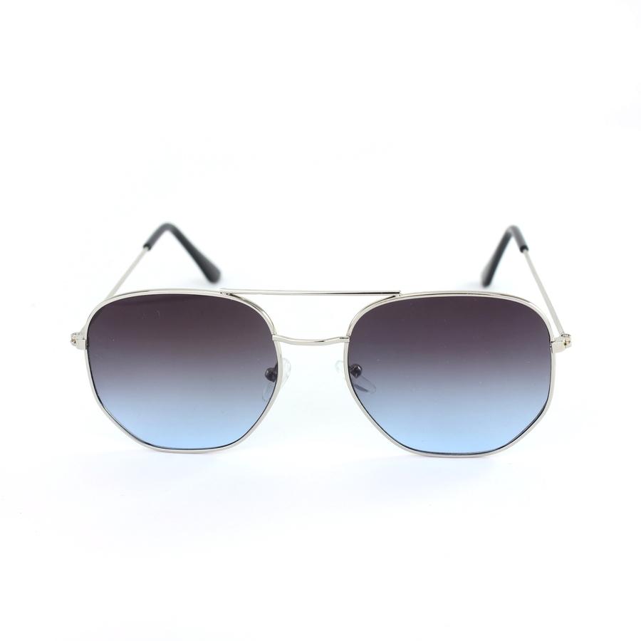 Silver Çerçeveli Altıgen Unisex Güneş Gözlüğü Degrade Mavi