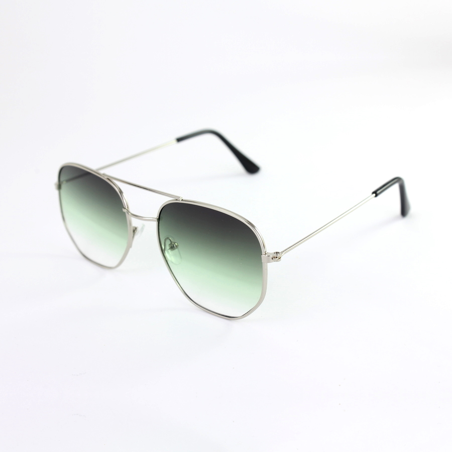 Silver Çerçeveli Altıgen Unisex Güneş Gözlüğü Degrade Yeşil