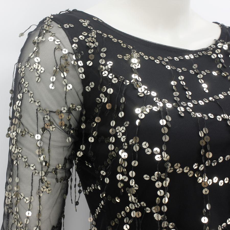 Silver Pul Payetli Uzun Kollu Mini Elbise Siyah