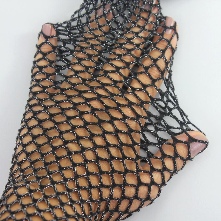 Simli Geniş File Külotlu Çorap Siyah