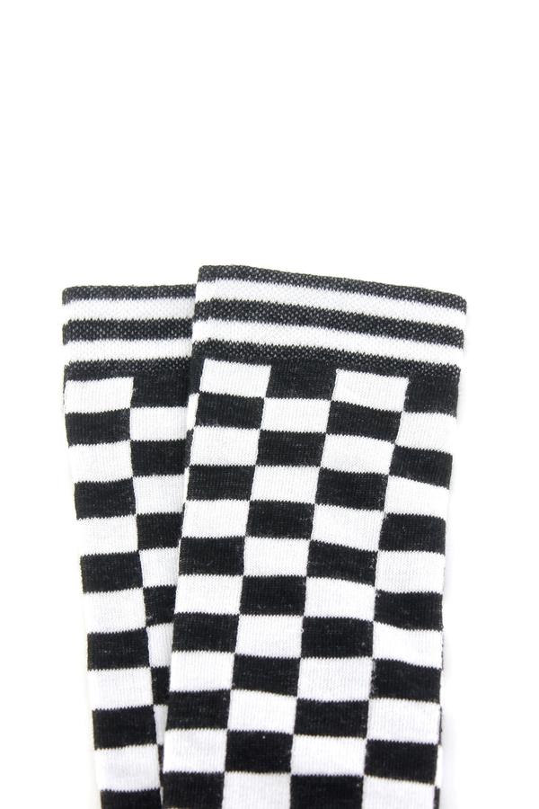 Siyah Beyaz Damalı Diz Altı Çorap