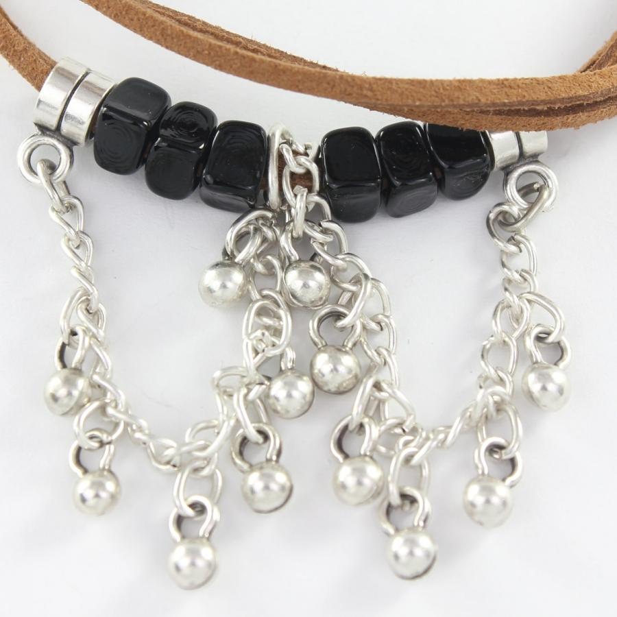 Siyah Boncuklu Kahverengi Deri Boho Halhal Silver